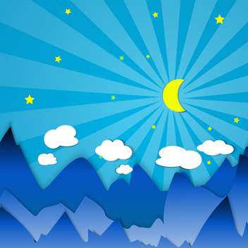 twilight in mountains with moon illustration - vector gratuit #134219