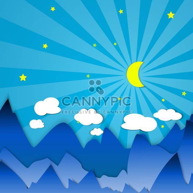 Dämmerung in Bergen mit Mond-illustration - Free vector #134219