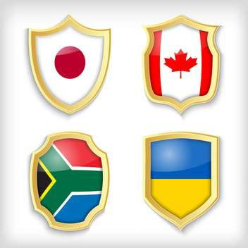 set of shields with different countries stylized flags - Free vector #134519