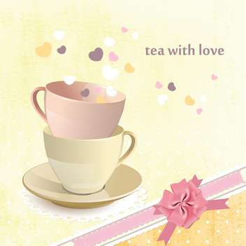 tea love postcard background - vector gratuit #134669