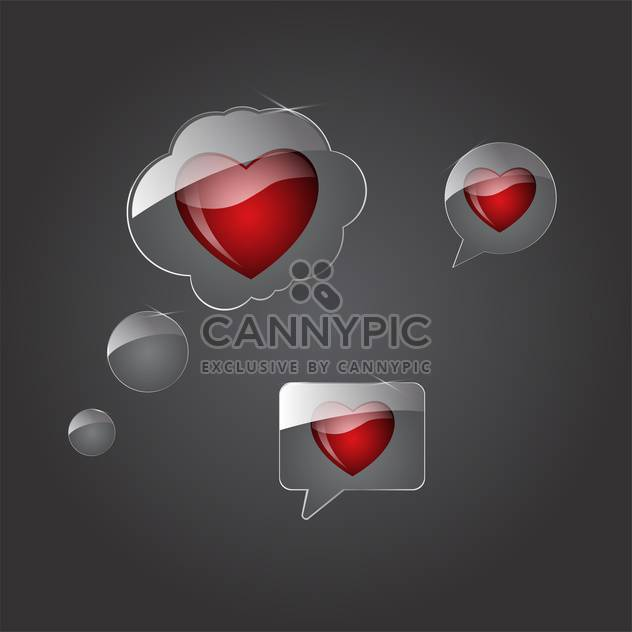vector speech bubbles with hearts - Free vector #134839