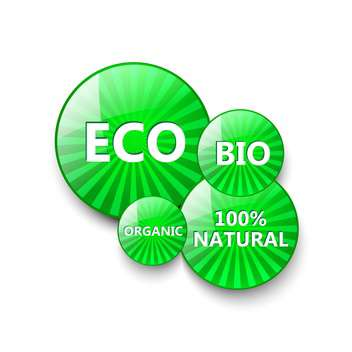 green eco buttons for food products - vector gratuit #134899