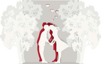 kissing couple in love valentine's background - vector #134909 gratis