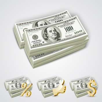 vector american dollar bills stack - vector gratuit #134959