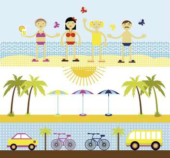 summer set for travel vector illustration - vector gratuit #135009