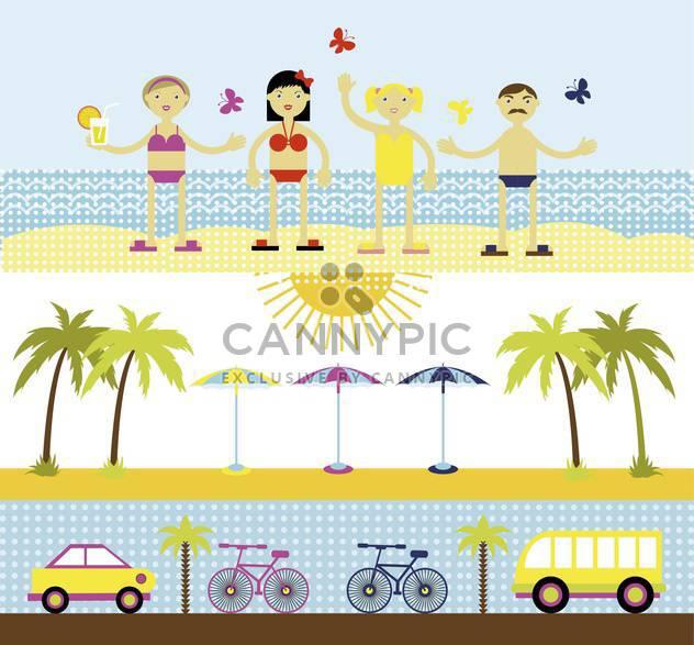 summer set for travel vector illustration - Free vector #135009