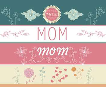 mother's day greeting banners with spring flowers - vector gratuit(e) #135049