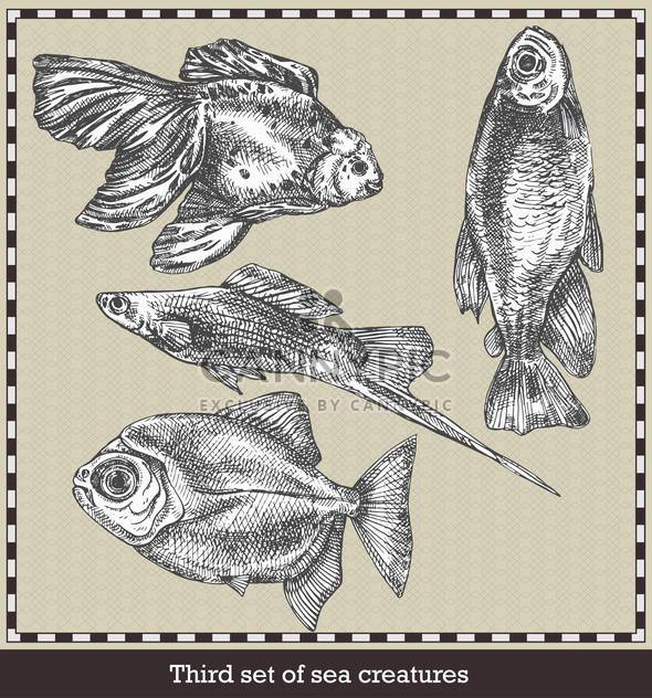 set of sea fish in retro style illustration - Free vector #135059