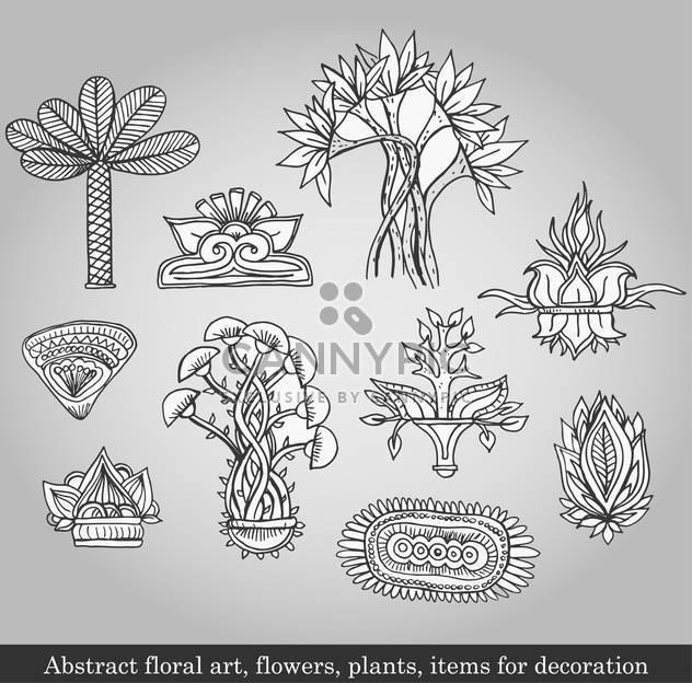 Blumen und Pflanzen für die Dekoration auf grauen Hintergrund - Kostenloses vector #135089
