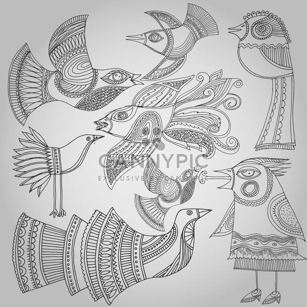 set of fantastic birds in folk style. - Free vector #135149