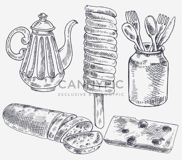 set of sketch elements for tea break - Free vector #135169