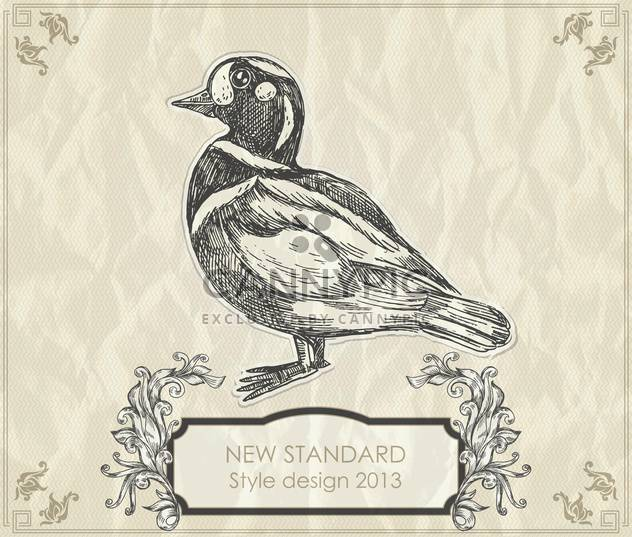vintage hand-drawing duck vector illustration - Free vector #135239