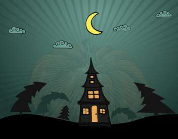 lonely house in dark wood for halloween holiday - бесплатный vector #135259