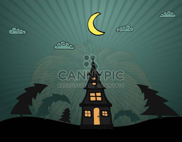lonely house in dark wood for halloween holiday - Free vector #135259