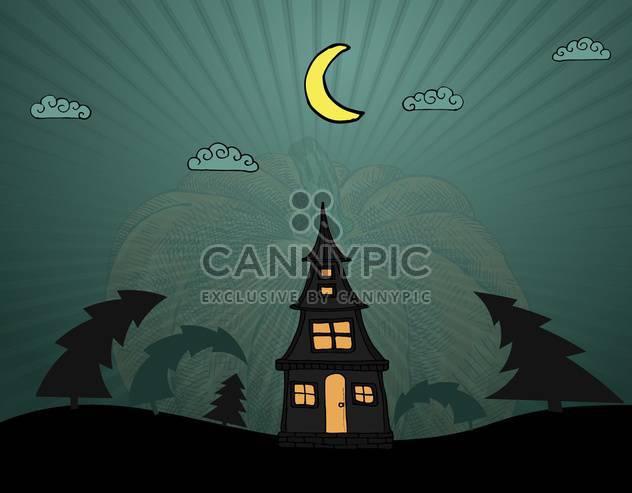 einsames Haus in dunklem Holz für Halloween-Urlaub - Kostenloses vector #135259