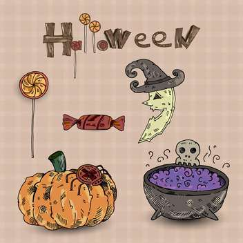 Colorful set of halloween decorative elements - vector gratuit #135279
