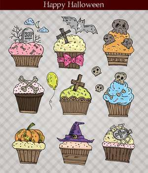 cute halloween muffins set vector illustration - vector gratuit #135289