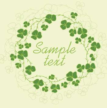 Floral frame with green clover leaves - Free vector #135309