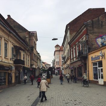 Architecture and people in streets of Uzhgorod - Free image #136549