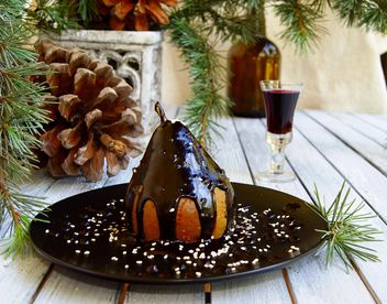pear in chocolate Christmas dessert - бесплатный image #136649