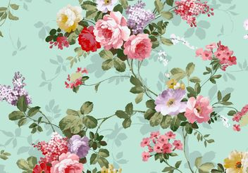 Beautiful Vintage Pink And Red Roses Textile Vector Background Free - vector gratuit #138849
