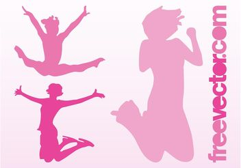 Happy Jumping Girls - vector gratuit #138919