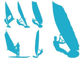 Windsurfing Silhouettes - vector gratuit #138989