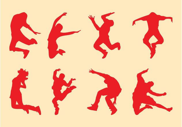 Jumping People Silhouettes - Free vector #139009