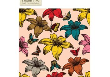 Free flowers and butterflies vector seamless pattern - Free vector #139649