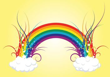 Rainbow Clouds - Free vector #140469