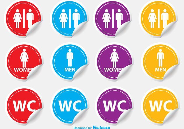 Restroom / WC Stickers - бесплатный vector #140839