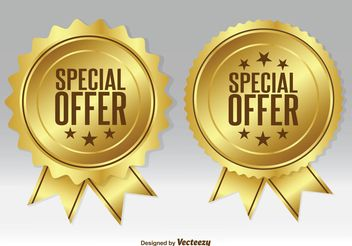 Gold Promotional Badges - Free vector #140929