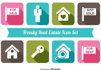 Trendy Real Estate Vector Icon Set - Free vector #141199