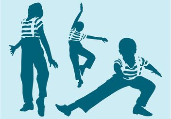 Dancing Boys Silhouettes - Free vector #141379