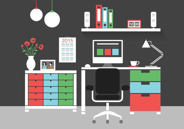 Free Modern Home Office Interior Vector Icons - Free vector #141649