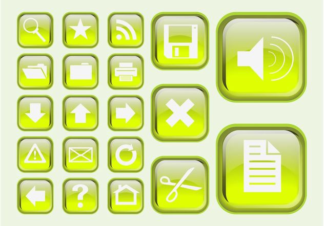 Green Interface Icons - vector #141709 gratis