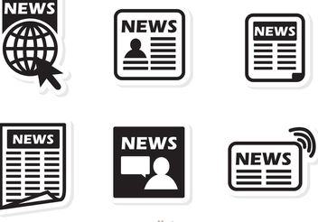 Black Icons News Vector - vector gratuit(e) #141879