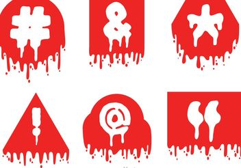 Hashtag Sosial Media Symbol Drip Red icons Vector - бесплатный vector #141909