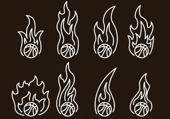 Basketball On Fire Outline Icons - Free vector #142329