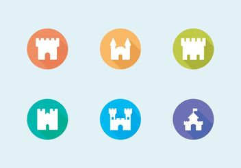 Flat Fort Vector Icons Set Free - Free vector #142449