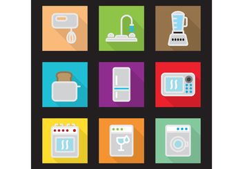 Modern Kitchen Vector Flat Icons - Free vector #142459