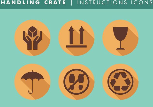 Handling Crate Instructions Icons Vector Free - Free vector #142549