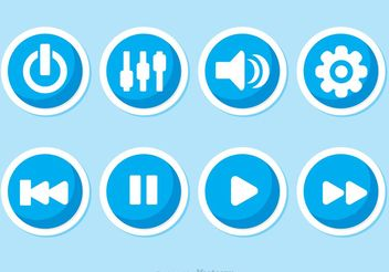Music Player Button Vectors - vector gratuit #142709