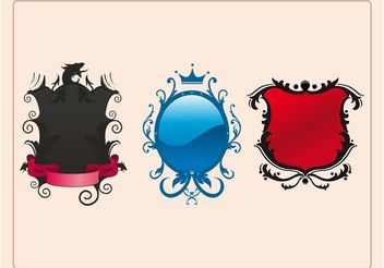 Decorated Shields - vector gratuit #143159