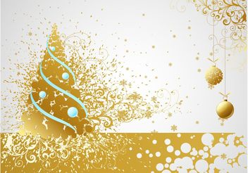 Golden Christmas Vector Card - Free vector #143299