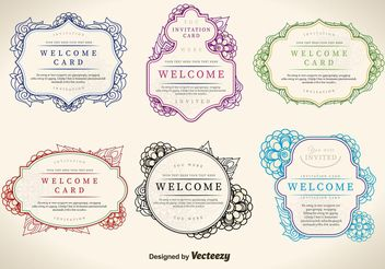 Floral Welcome Label Vectors - Free vector #143399