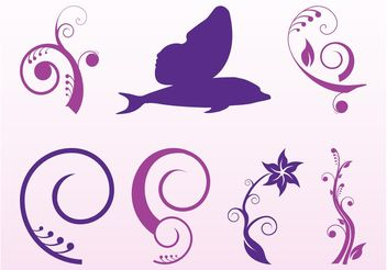 Decorative Flowers And Swirls - vector gratuit(e) #143439