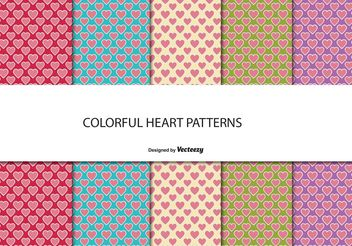 Cute Heart Pattern Set - Free vector #144079