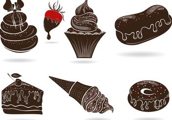 Set of Free Vector Sweets with Chocolate - Free vector #145089