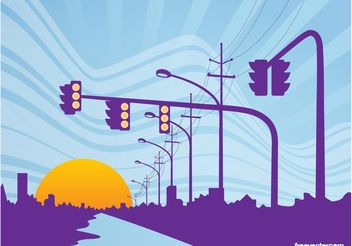 Road Sunset - vector gratuit #145199